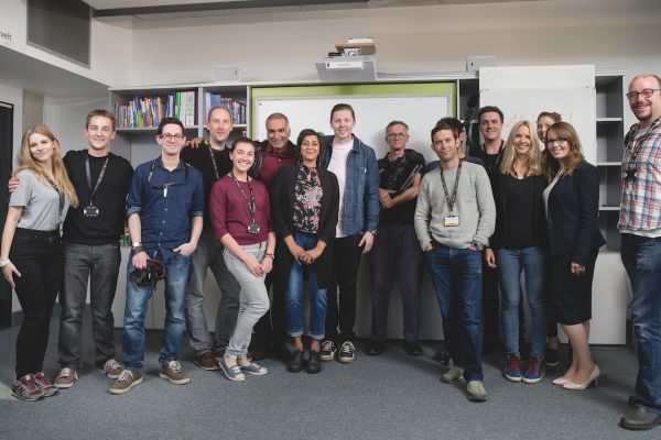 RProfessor Green and Meera Syal at Uxbridge High School surprising pupils with an unexpected rendition of Shakespeare's 'Much Ado about Nothing' in collaboration with the new Re Shakespeare app from Samsung.